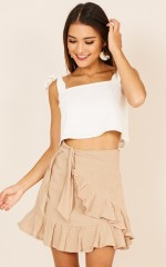 Listen Up skirt in beige linen look
