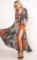 Lone Traveller maxi dress in multi print