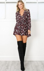 Lost Time playsuit in wine floral