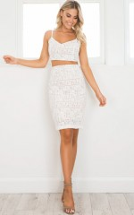 Love And Hate two piece set in white lace