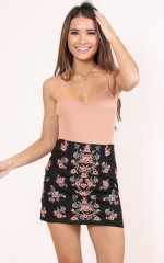 Love You Back skirt in black embroidery