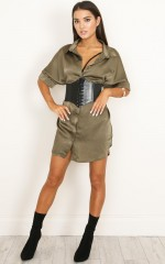 Good Times shirt dress in  khaki