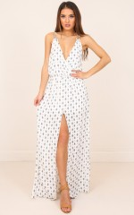 Maybe Its Me maxi dress in white print