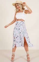 Moonlight Dancer midi skirt in blue floral