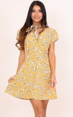 My Last Time dress in yellow floral