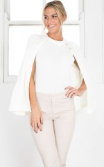 Never Back Down Knit Cape in white