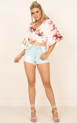 Never Far Behind top in cream floral