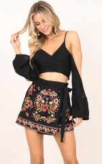 No Association skort in black embroidery