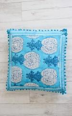 Ocean Deep Cushion in Blue Print
