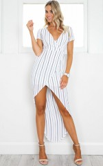 Open Road Dress in White Stripe