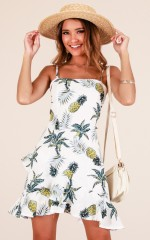 Pineapple Season dress in white print