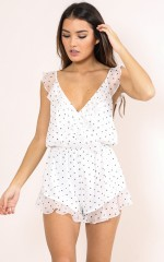 Pretty And Free romper in white print