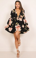 Past Tense dress in black floral