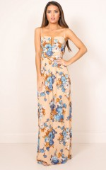 Putting It On maxi dress in beige floral
