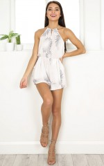 Rae playsuit in beige print