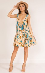 Rate It Right dress in beige floral