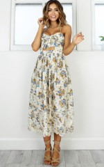 Reach For The Sky dress in beige floral