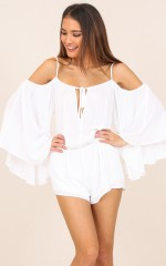 Ring My Bell playsuit in white