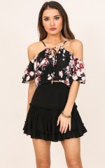Ruffle Me Up crop top in navy floral