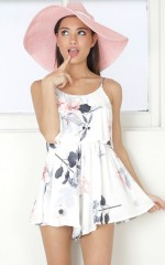 Say My Name playsuit in white floral