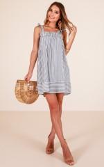 Settle Down dress in blue stripe