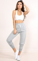 Sleep Repeat Track Pants in Grey Marle