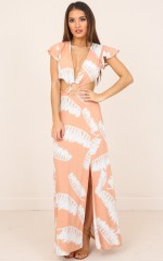 South Beach maxi dress in beige print