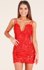 Stars In My Eyes dress in red sequin