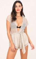 Stars Rising Playsuit in Gold Lurex