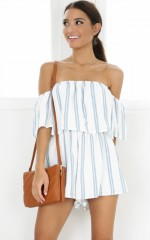 Sucker For Pain playsuit in blue stripe