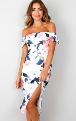 Take me to Paradise dress in white floral