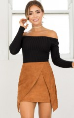 Think About It skirt in tan suedette