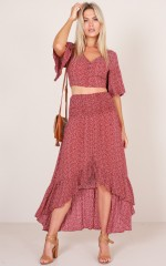 Matilda two piece set in wine print