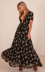 Attention Seeker maxi dress in black floral