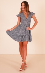 Floating Wishes dress in navy print