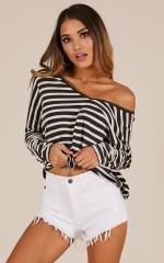 A Perfect Day top in black stripe