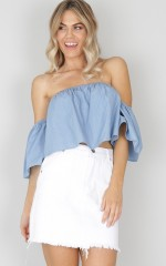 Baby Cakes crop top in chambray