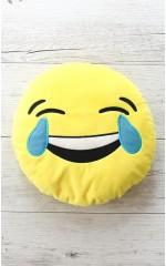 Crying Laughing Emoji Pillow in Yellow