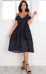 Bird Of Paradise dress in navy