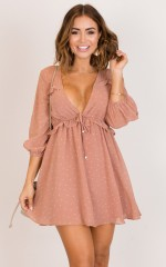 Between You And I dress in mocha polka dot