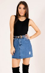 Subways denim skirt in dark wash