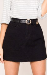 Cinnamon Girl denim skirt in black