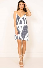 Crash My Party dress in navy print