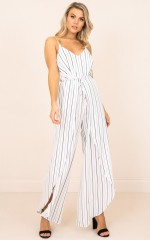 Wrapped Around Me jumpsuit in white stripe