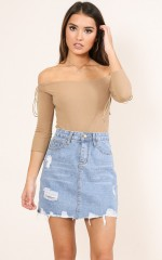 Love Lockdown denim skirt in mid wash