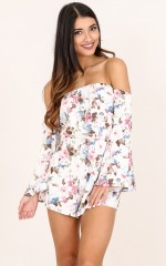Brunch Please playsuit in cream floral