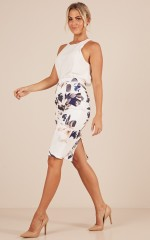 Claim It Back skirt in white print