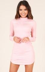 Save Tonight dress in blush suedette