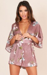 Tempted To Touch playsuit in mauve floral