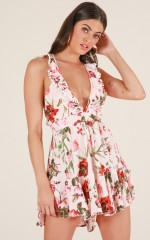 Keep A Secret playsuit in blush floral